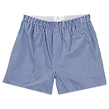 Buy Sunspel Classic Cotton Boxer Shorts, Navy Bengal Online at johnlewis.com