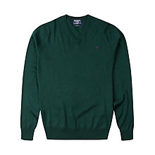 Buy Hackett London Merino V-Neck Jumper, Forest Green Online at johnlewis.com