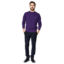 Buy Gant Lambswool Crew Neck Jumper, Purple Online at johnlewis.com