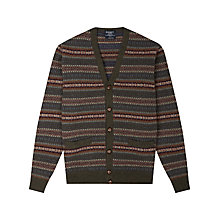 Buy Hackett London Fair Isle Print Lambswool Cardigan, Brown Multi Online at johnlewis.com