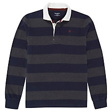 Buy Hackett London Block Stripe Rugby Shirt, Navy/Grey Online at johnlewis.com