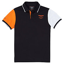 Buy Hackett London Aston Martin Multi Tone Contrast Polo Shirt, Black / Orange Online at johnlewis.com