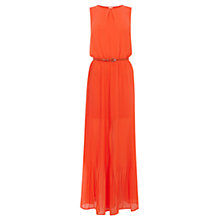 Buy Oasis Plait Neck Pleat Maxi Dress, Orange Online at johnlewis.com