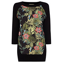 Buy Oasis Woven Front Jumper, Black Online at johnlewis.com
