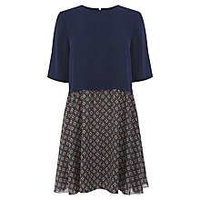 Buy Warehouse Geometric Skirt Swing Dress, Blue Pattern Online at johnlewis.com