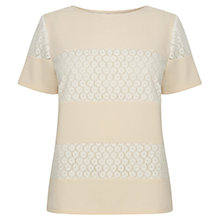 Buy Warehouse Lace Insert Crepe Top, Cream Online at johnlewis.com
