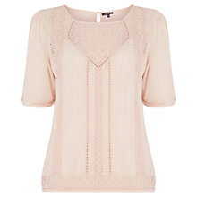 Buy Warehouse Embroidered Smock Top, Light Pink Online at johnlewis.com