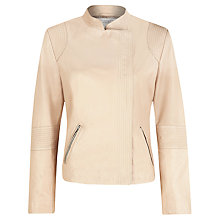 Buy Kaliko Asymmetric Front Leather Jacket, Light Pink Online at johnlewis.com
