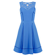Buy Warehouse Cutwork Yoke Ladder Dress, Light Blue Online at johnlewis.com