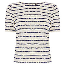 Buy Warehouse Stripe Lace T-Shirt, Navy Online at johnlewis.com
