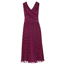 Buy Jacques Vert Spot Pleated Dress, Purple Online at johnlewis.com