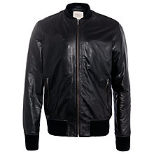 Buy Selected Homme Adrian Leather Jacket, Black Online at johnlewis.com