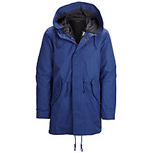Buy Selected Homme Iconic Fishtale Hooded Parka Coat, Mazarine Blue Online at johnlewis.com