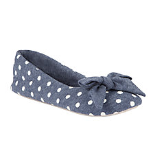Buy John Lewis Iris Fabric Slippers, Navy Spot Online at johnlewis.com