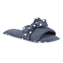 Buy John Lewis Bell Bow Detail Slippers, Navy Online at johnlewis.com