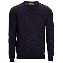 Buy Selected Homme Conner Printed Crew Neck Jumper, Navy Online at johnlewis.com