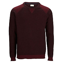 Buy Selected Homme Spleen Cotton and Wool Blend Crew Neck Jumper, Zinfandel Online at johnlewis.com