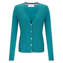 Buy Collection WEEKEND by John Lewis Cable Stitch Cashmere V-Neck Cardigan, Turquoise Online at johnlewis.com