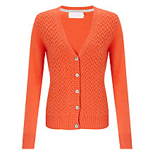 Buy Collection WEEKEND by John Lewis Cable Stitch Cashmere V-Neck Cardigan, Orange Online at johnlewis.com