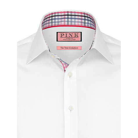Buy Thomas Pink Stirling Plain Long Sleeve Shirt, White/Pink Online at johnlewis.com