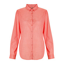 Buy Jigsaw Clover Print Cotton Shirt, Coral Online at johnlewis.com