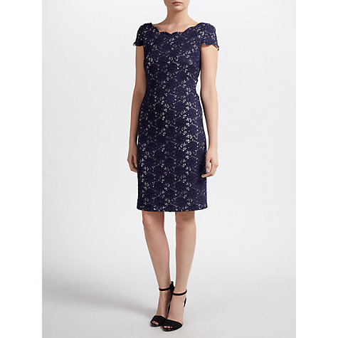 Buy Gina Bacconi Corded Lace Knit Dress, Navy Online at johnlewis.com