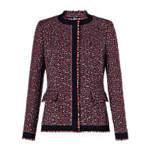 Buy Jigsaw Tribal Linton Tweed Collarless Jacket, Blue Online at johnlewis.com