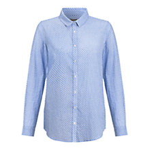 Buy Jigsaw Sunshine Geo Print Voile Shirt, Blue Online at johnlewis.com
