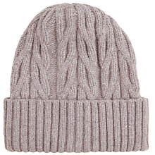 Buy John Smedley Peaks Chunky Cable Knit Beanie Hat, One Size, Silver Online at johnlewis.com