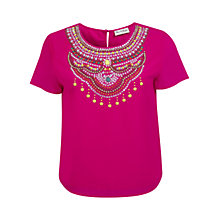 Buy Miss Selfridge Embellished Necklace Top, Pink Online at johnlewis.com