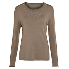 Buy Gerry Weber Sparkle V-neck Jumper. Khaki Online at johnlewis.com