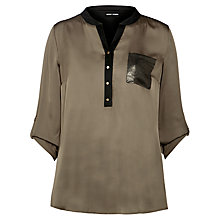 Buy Gerry Weber Satin Pocket Blouse, Khaki Online at johnlewis.com