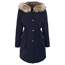 Buy Gerry Weber Faux Fur Hood Parka, Navy Online at johnlewis.com