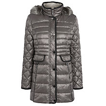 Buy Gerry Weber Faux Fur Hood Quilted Coat, Pewter Online at johnlewis.com