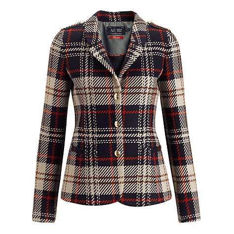 Buy Armani Jeans Check Tweed Blazer, Black/Red Online at johnlewis.com
