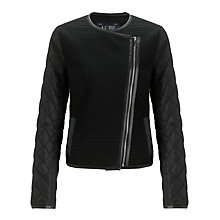 Buy Armani Tweed Biker Jacket, Black Online at johnlewis.com