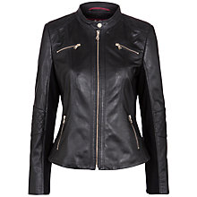 Buy Gerry Weber Leather Jacket, Black Online at johnlewis.com