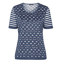 Buy Gerry Weber Spot & Stripe Mesh T-shirt, Blue Online at johnlewis.com