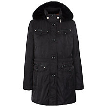 Buy Gerry Weber Faux Fur Lined Hood Coat, Black Online at johnlewis.com