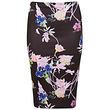 Buy Miss Selfridge Floral Pencil Skirt, Black Online at johnlewis.com
