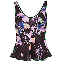 Buy Miss Selfridge Floral Peplum Top, Black Online at johnlewis.com