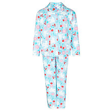 Buy John Lewis Girl Woven Floral Pyjamas, Aqua/Multi Online at johnlewis.com