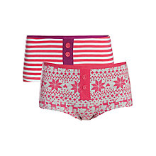 Buy John Lewis Girl Christmas Shorties, Pack of 2, Pink/Multi Online at johnlewis.com