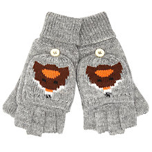 Buy John Lewis Boy Fox Flip Top Gloves, Grey Online at johnlewis.com