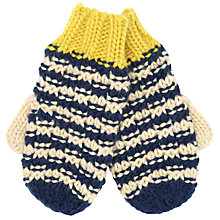 Buy John Lewis Boy Textured Gloves, Blue/Cream Online at johnlewis.com