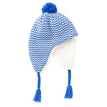 Buy John Lewis Boy Chevron Stripe Hat, Blue/Cream Online at johnlewis.com