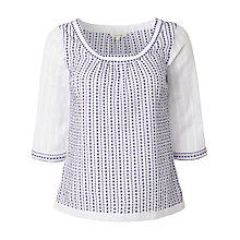 Buy White Stuff Cross Stitch Dobby Top, White Online at johnlewis.com