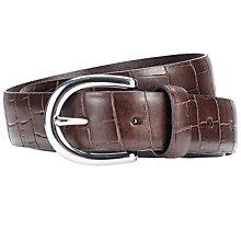 Buy John Lewis Croc Smart Leather Belt, Brown Online at johnlewis.com