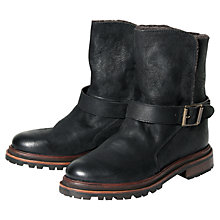 Buy H by Hudson Tatham leather Ankle Boots, Black Online at johnlewis.com