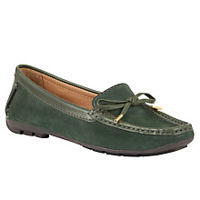 Buy John Lewis Vermont Nubuck Leather Trim Moccasin Loafers, Dark Green Online at johnlewis.com